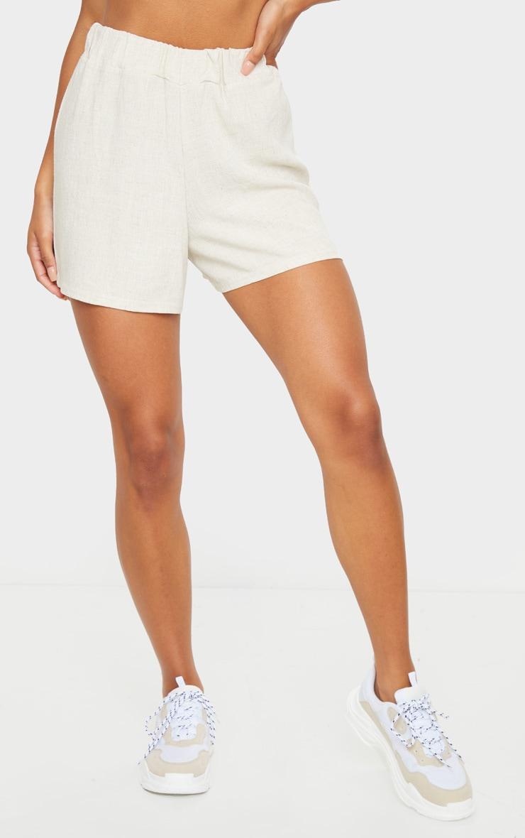 Stone Linen Feel High Waist Shorts 2