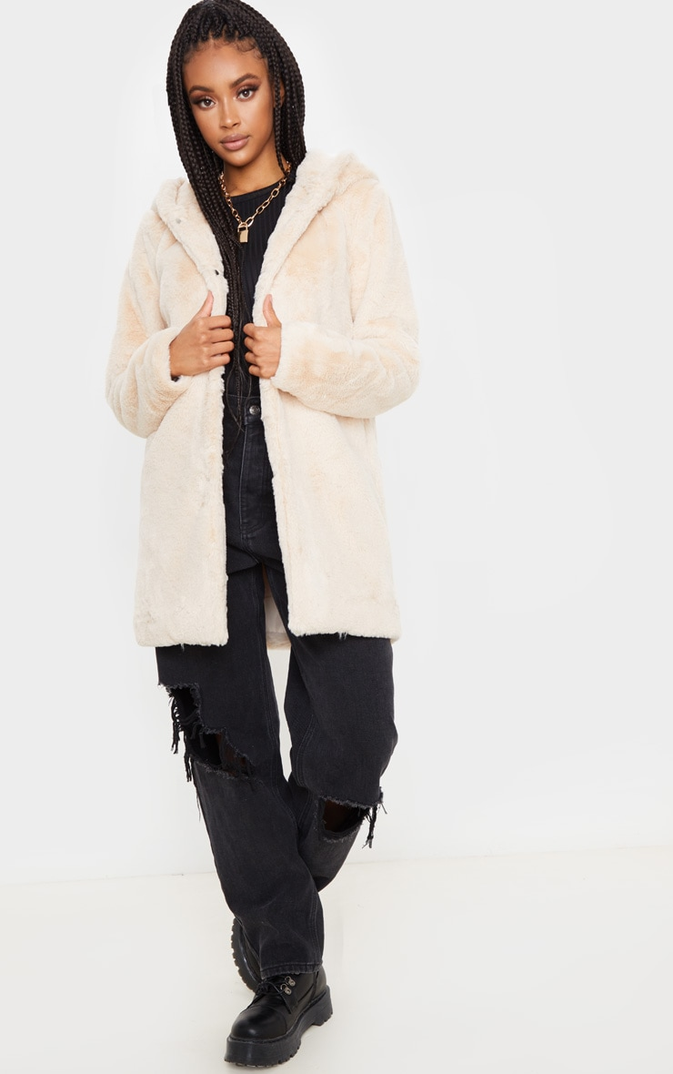 Stone Faux Fur Hooded Coat 4