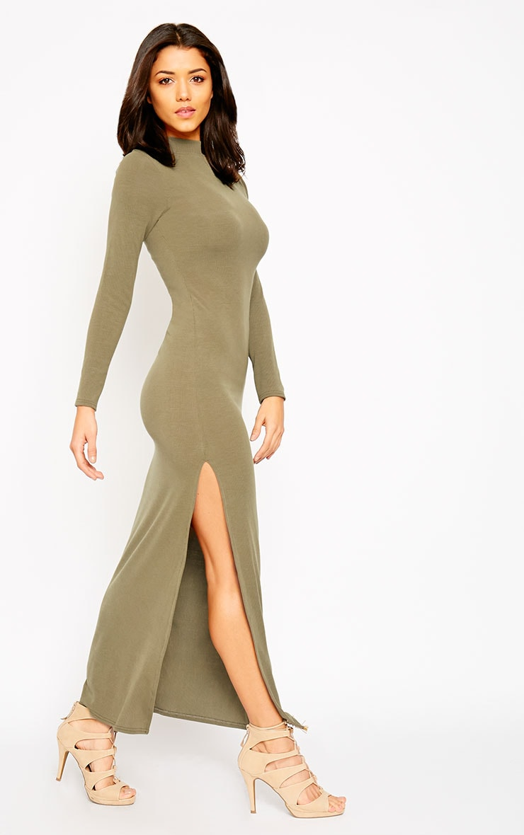 Basic Khaki Turtle Neck Maxi Dress 3