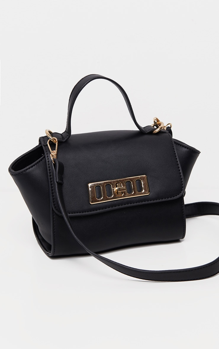 Black PU Metal Fastening Mini Bag 4
