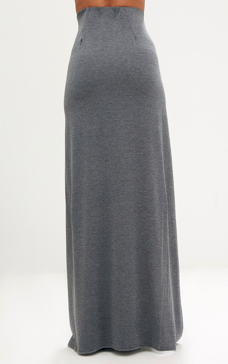 Grey Double Split Maxi Skirt 4