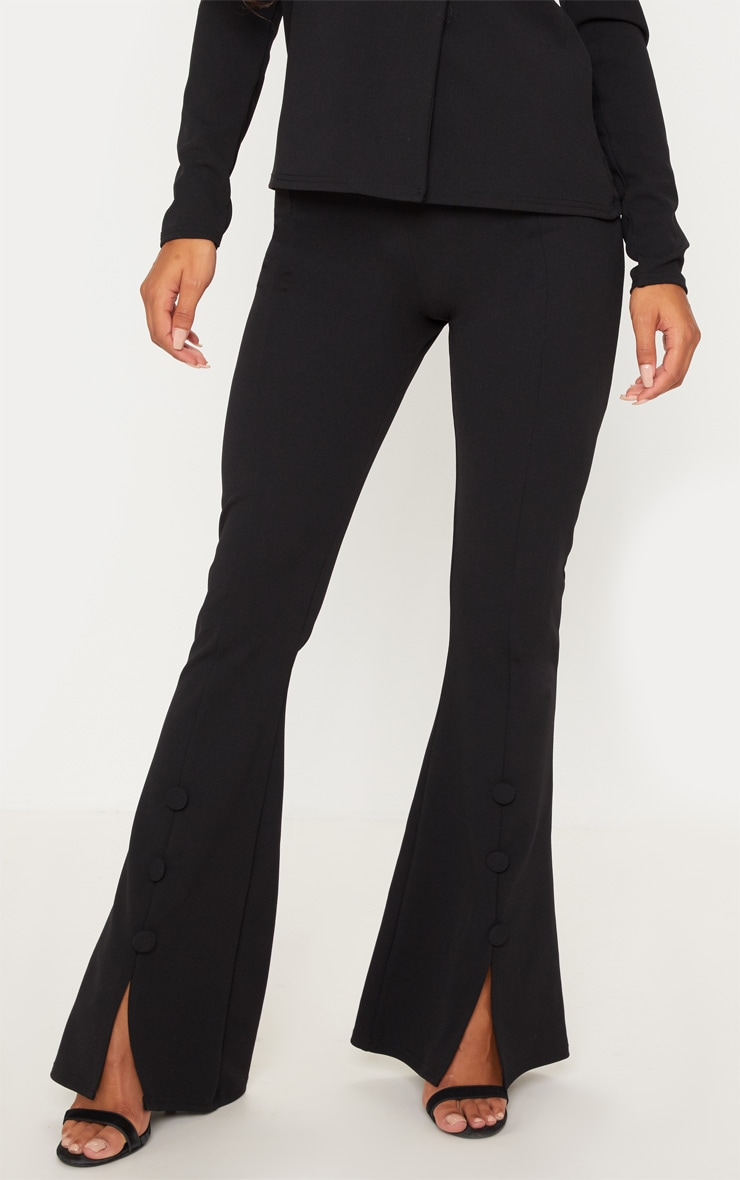 Black Flared Button Detail Suit Pants 2