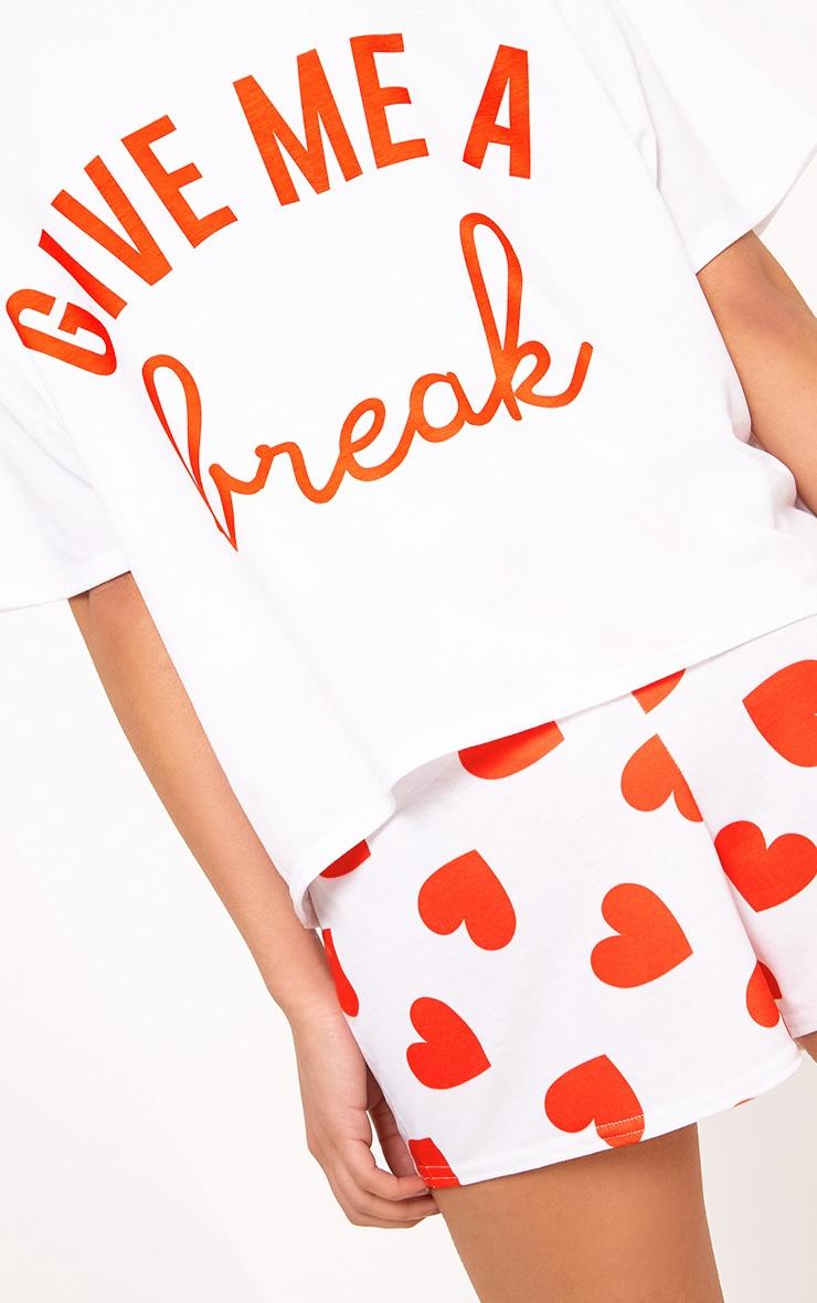 White Give Me A Break Slogan PJ Set  5