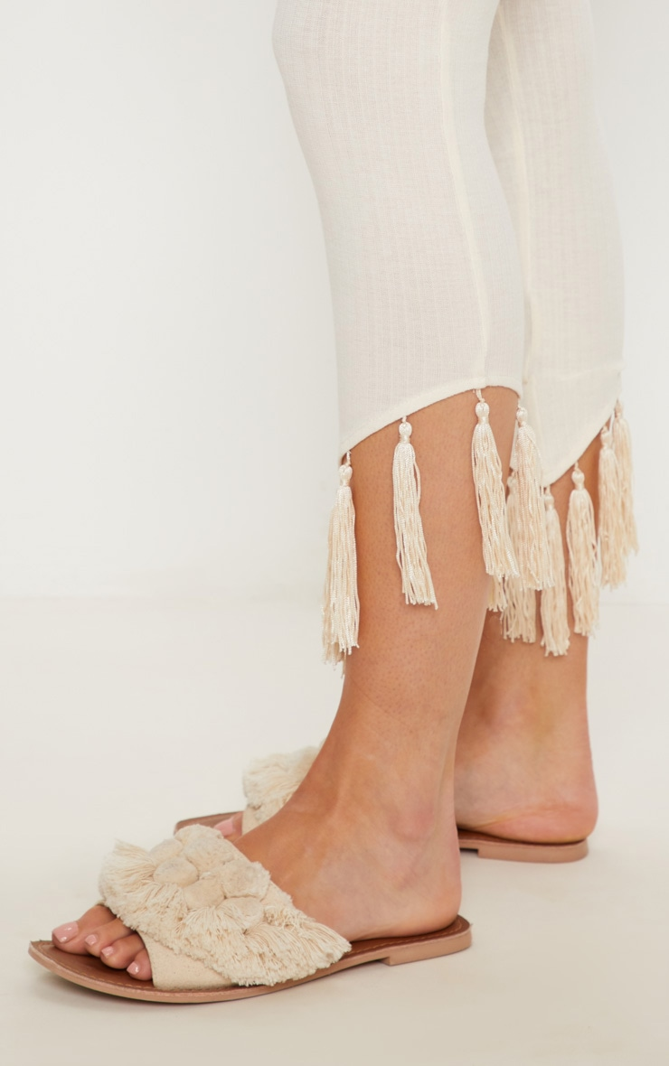 Cream Rib Tassel Trim Legging 5