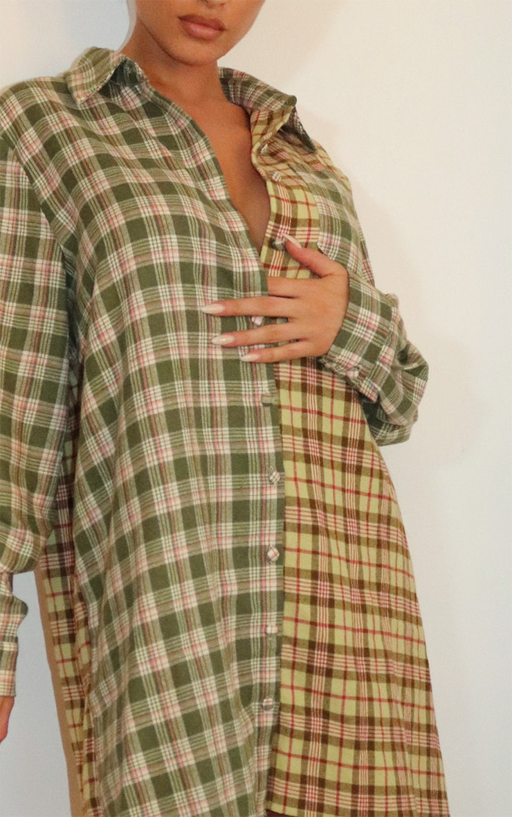Olive Multi Two Tone Checked Shirt Dress 3