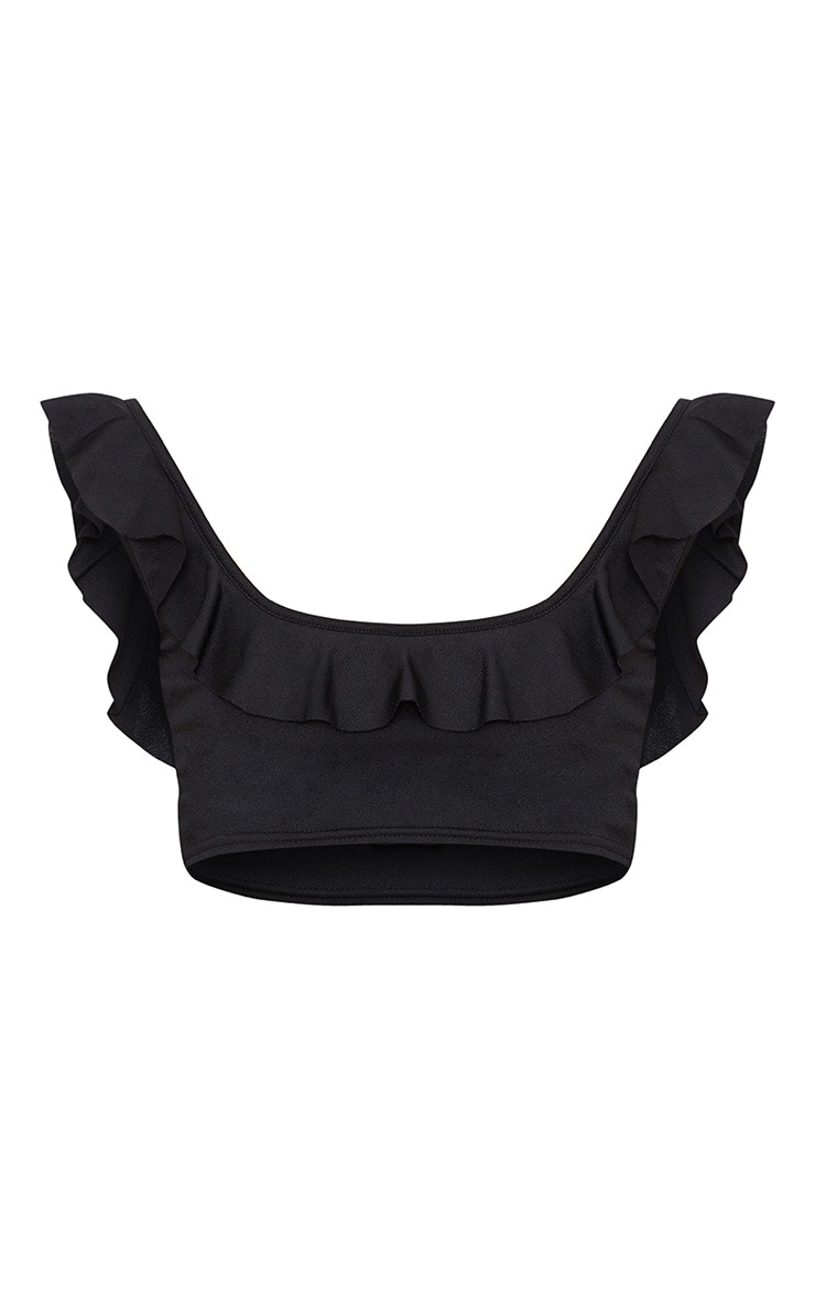 Black Frill Low Scoop Crop Top  3