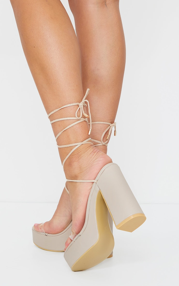 LuxeModa Emily Nude Square Toe Lace Up Pyramid Heel Tie Up
