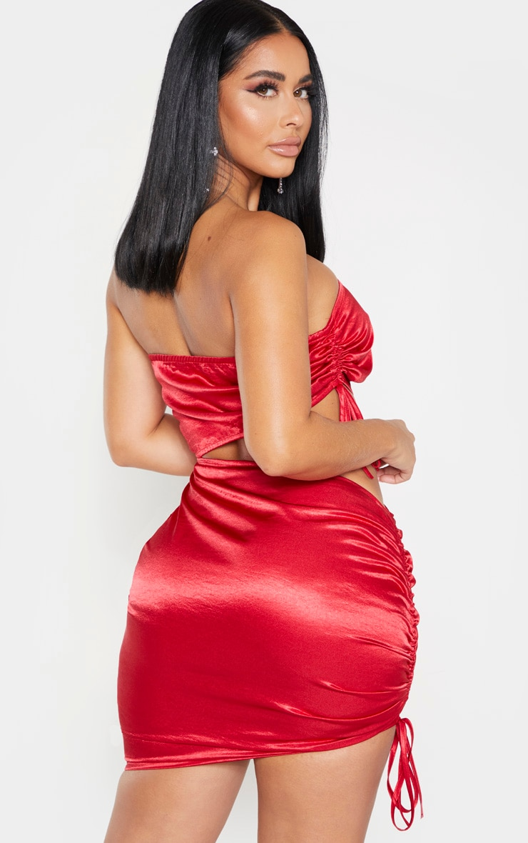 Shape Red Bandeau Ruched Side Cut Out Dress 2