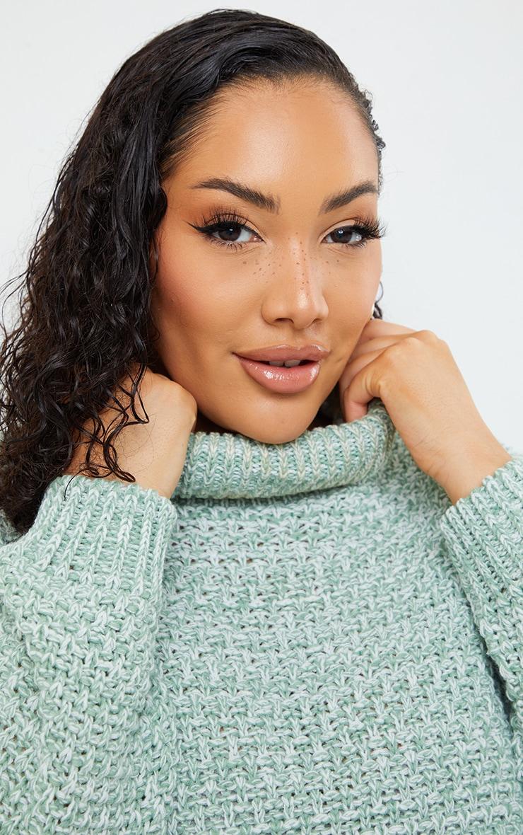 Plus Sage Green Fisherman Knit Roll Neck Sweater 4
