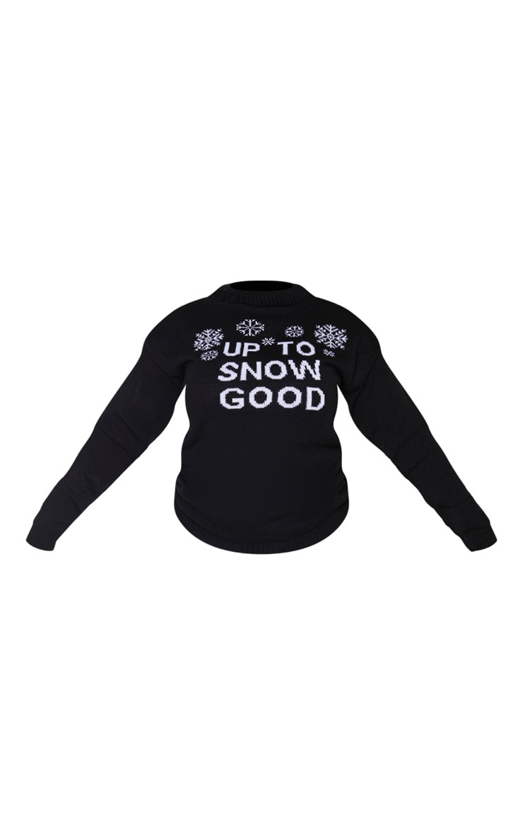 Plus Black Up To Snow Good Christmas Slogan Jumper 3