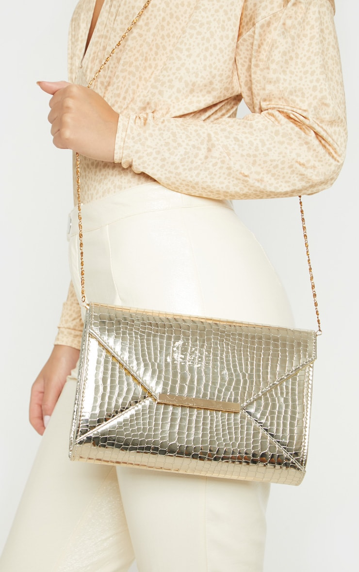 Gold Patent Croc Envelope Clutch 2