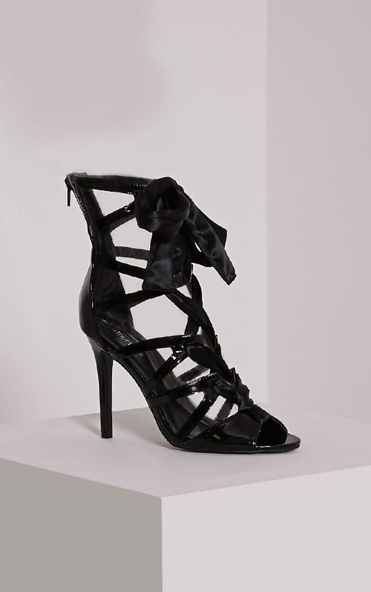 Carrey Black Ribbon Lace Sandals 4