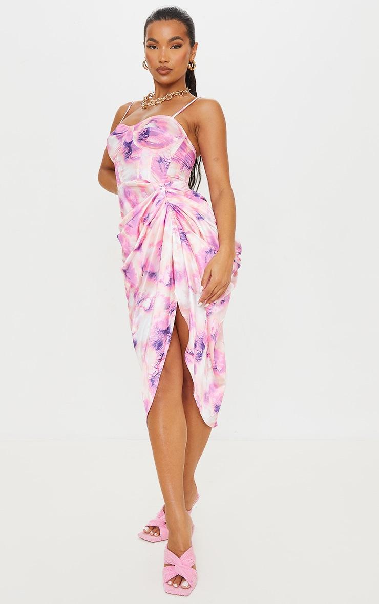 Robe satinée mi-longue à corset et jupe froncée lilas imprimé tie & dye 3