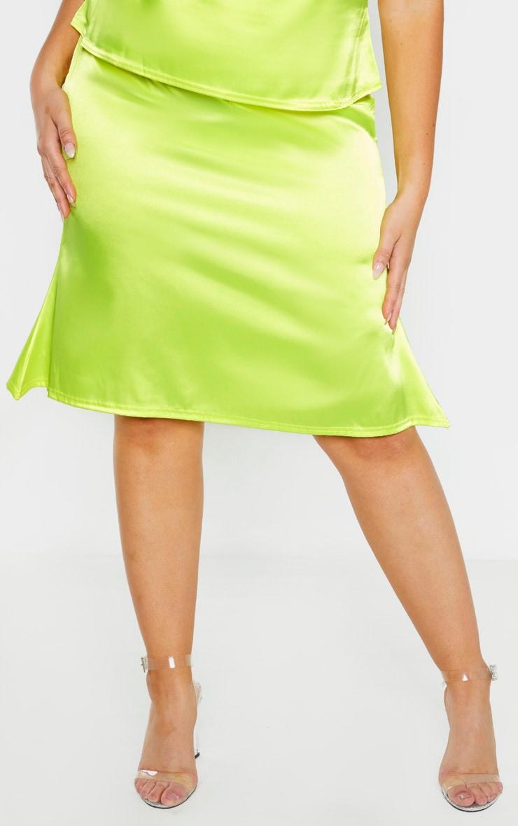 Plus Neon Yellow Satin Flare Hem Midi Skirt 2