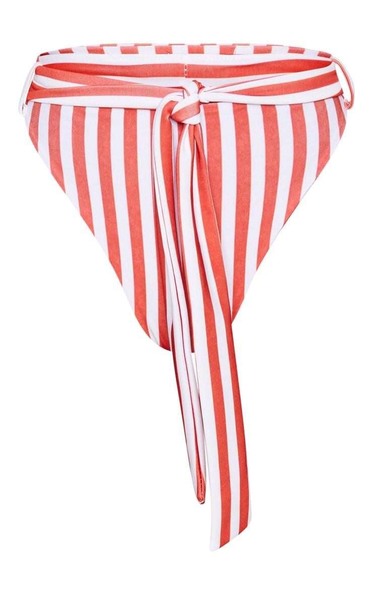 Petite Red Striped High Waisted Bikini Bottoms  3