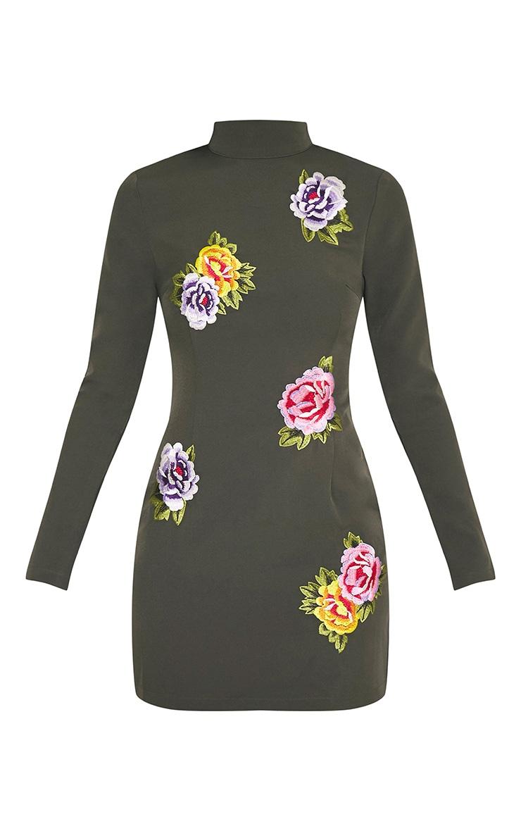 Marlia Khaki Floral Embroidered High Neck Bodycon Dress 3