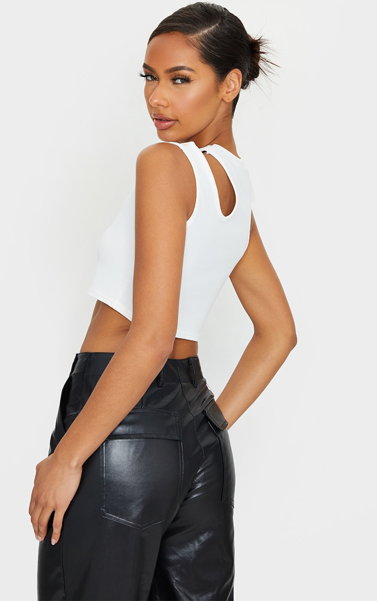 White Crepe Double Strap Racer Neck Crop Top 2