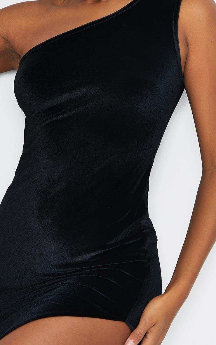 Black Velvet One Shoulder Split Midi Dress 4