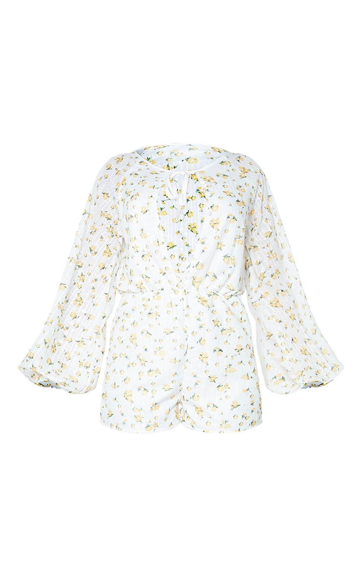 White Floral Broderie Anglaise Button Detail Romper 5