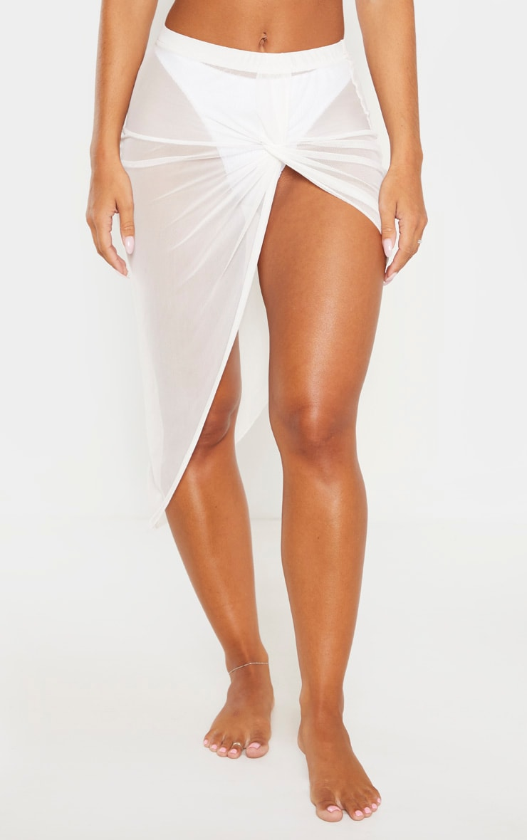White Tie Knot Side Sarong 2
