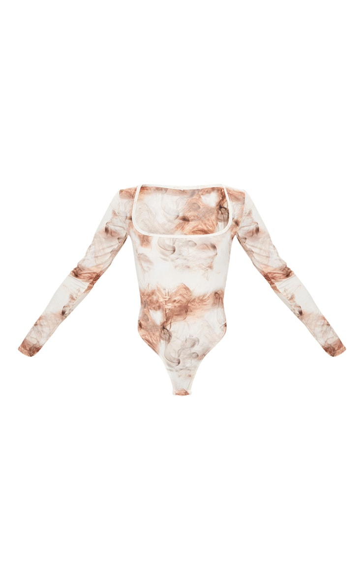 Nude Smoke Printed Soft Touch Square Neck Long Sleeve Bodysuit 5