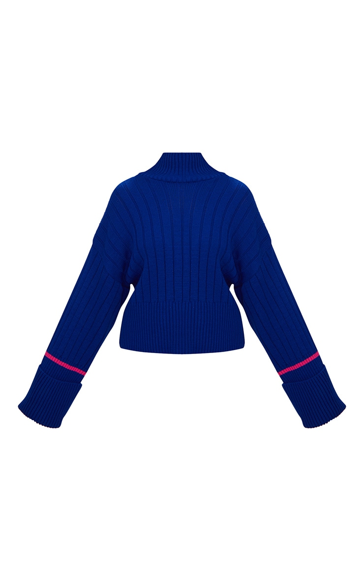 Blue Turnback Stripe Sleeve Jumper 3