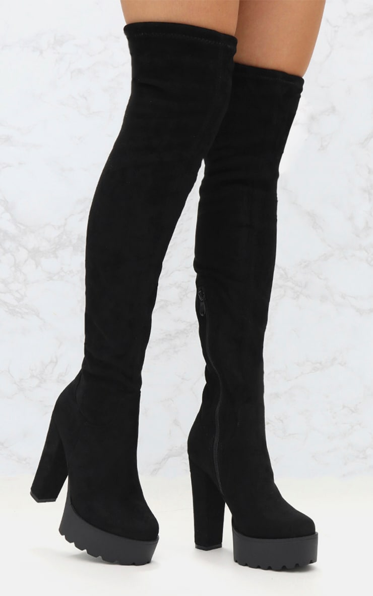 Black Suede Extreme Platform Thigh Boot 1
