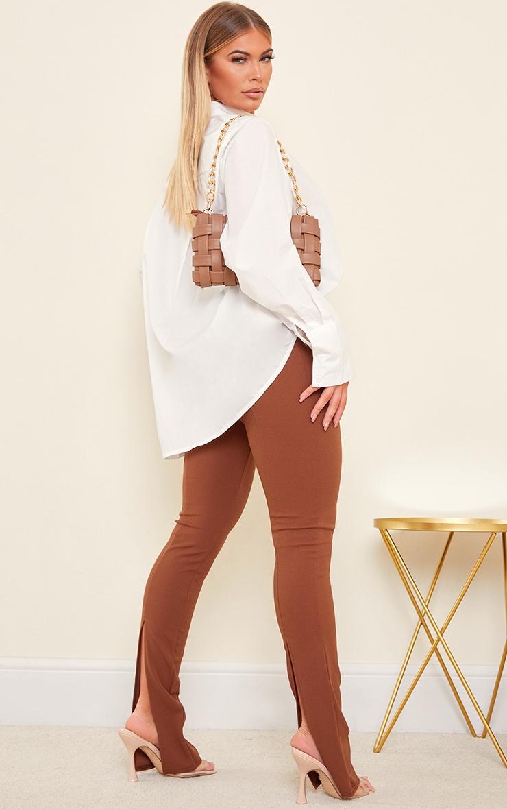 Chocolate Back Split Hem Skinny Trousers 1