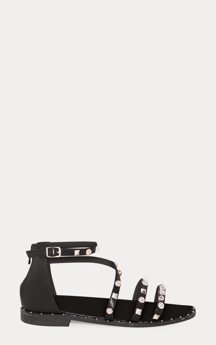 Black Studded Strappy Flat Sandals 3