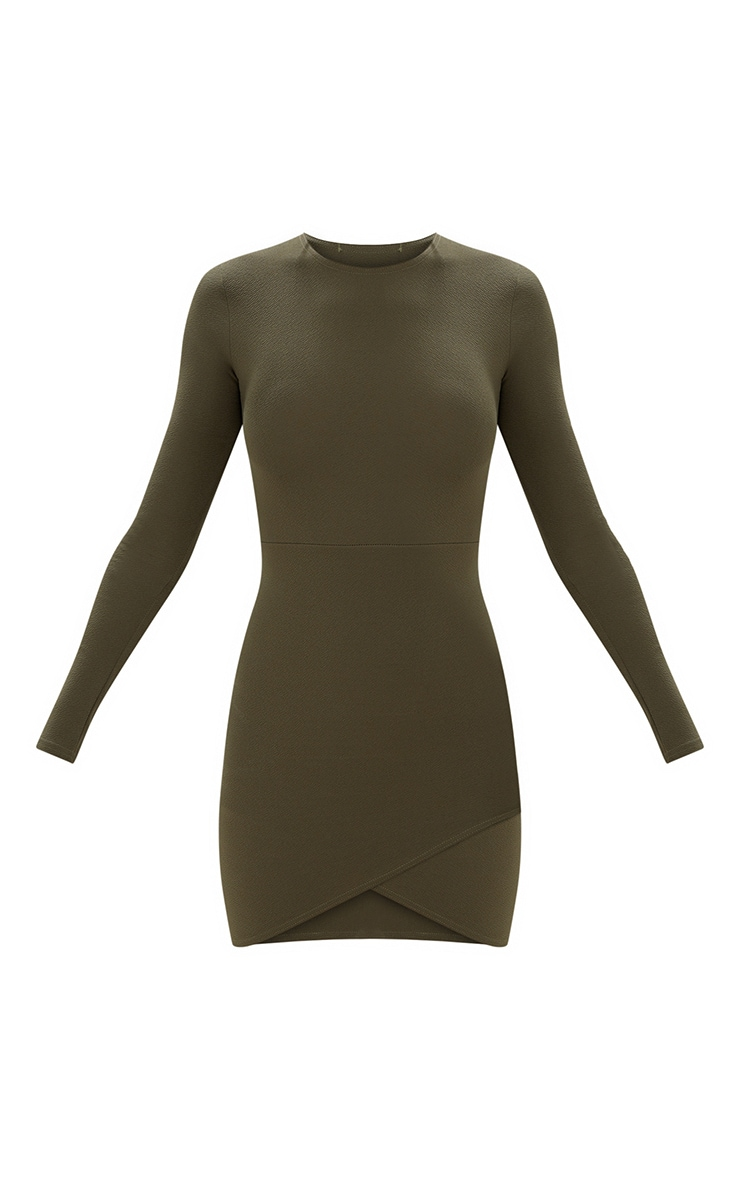 Khaki Long Sleeve Wrap Skirt Bodycon Dress 3