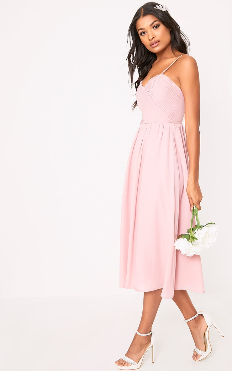 Gracelyn Dusty Pink Pleat Detail Midi Dress  1