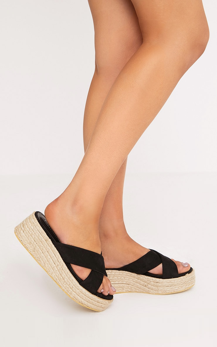 Liara Black Faux Suede Flatform Sliders 5