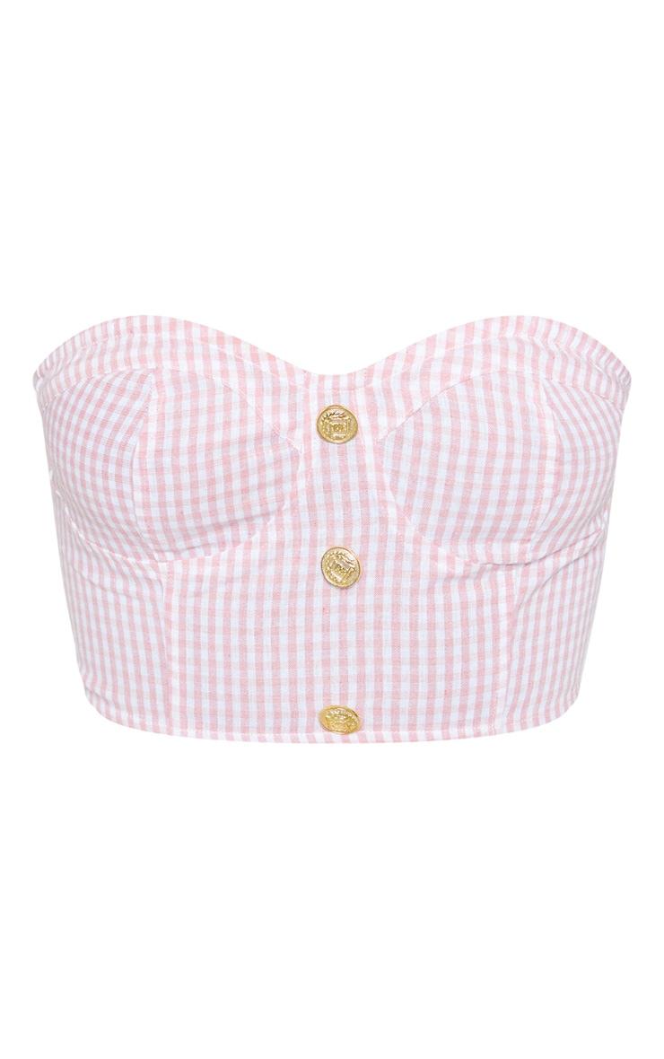 Pink Gingham Bandeau Button Detail Crop Top 3