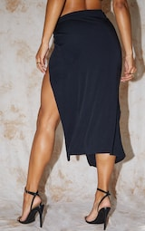 Recycled Black Contour Jersey Twist Front Midaxi Skirt 3