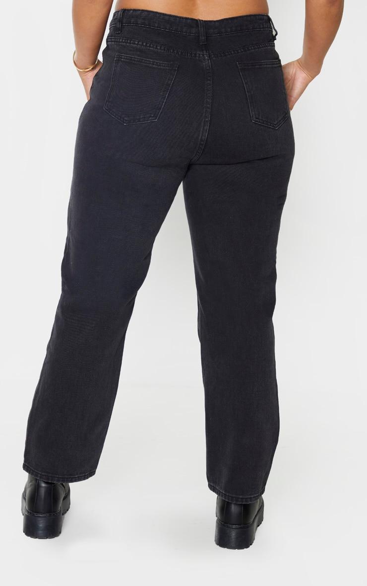 PRETTYLITTLETHING Plus Washed Black Straight Leg Jean 4