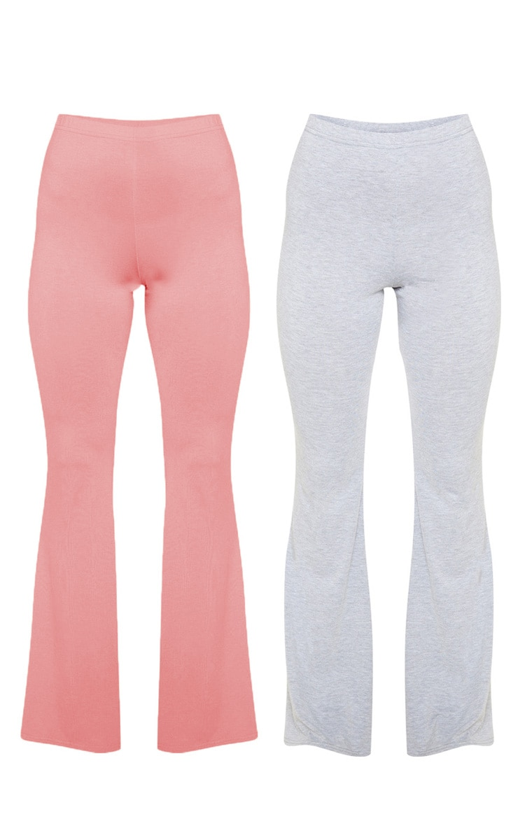 Dusty Rose And Grey Marl Basic Jersey Flare Leg Trouser 2 Pack 3