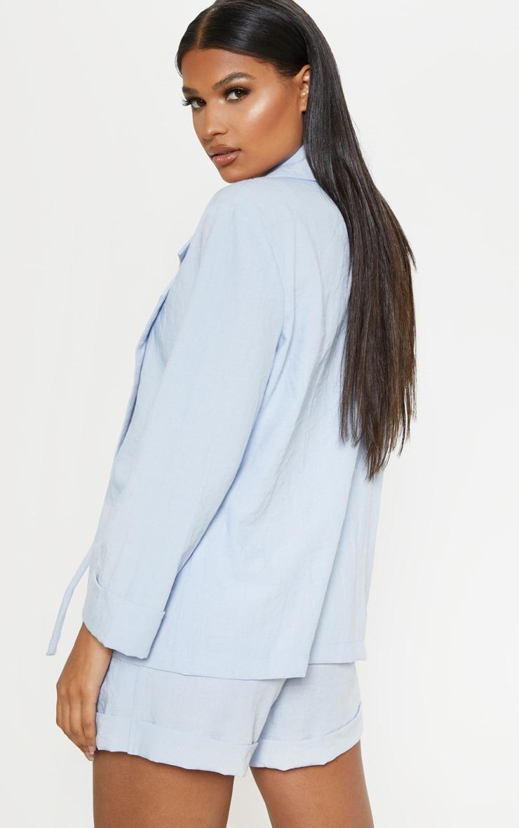 Blue Linen Woven Blazer 2