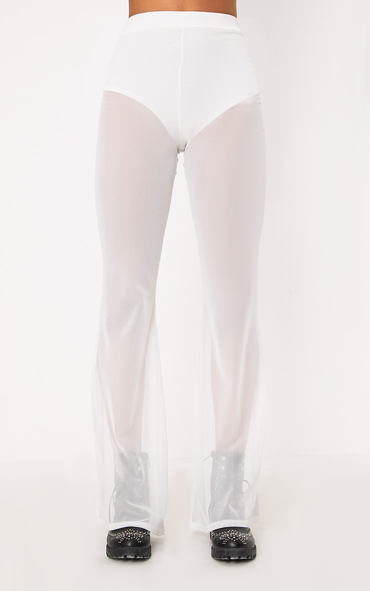 Ivory Flared Sheer Trousers 2