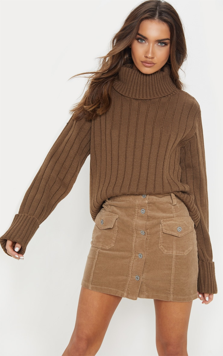 Mocha Chunky Ribbed High Neck Jumper  by Prettylittlething