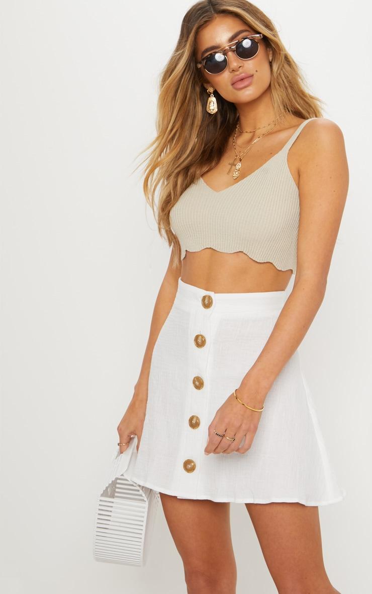 Cream Button Front Linen Feel Mini Skirt 1