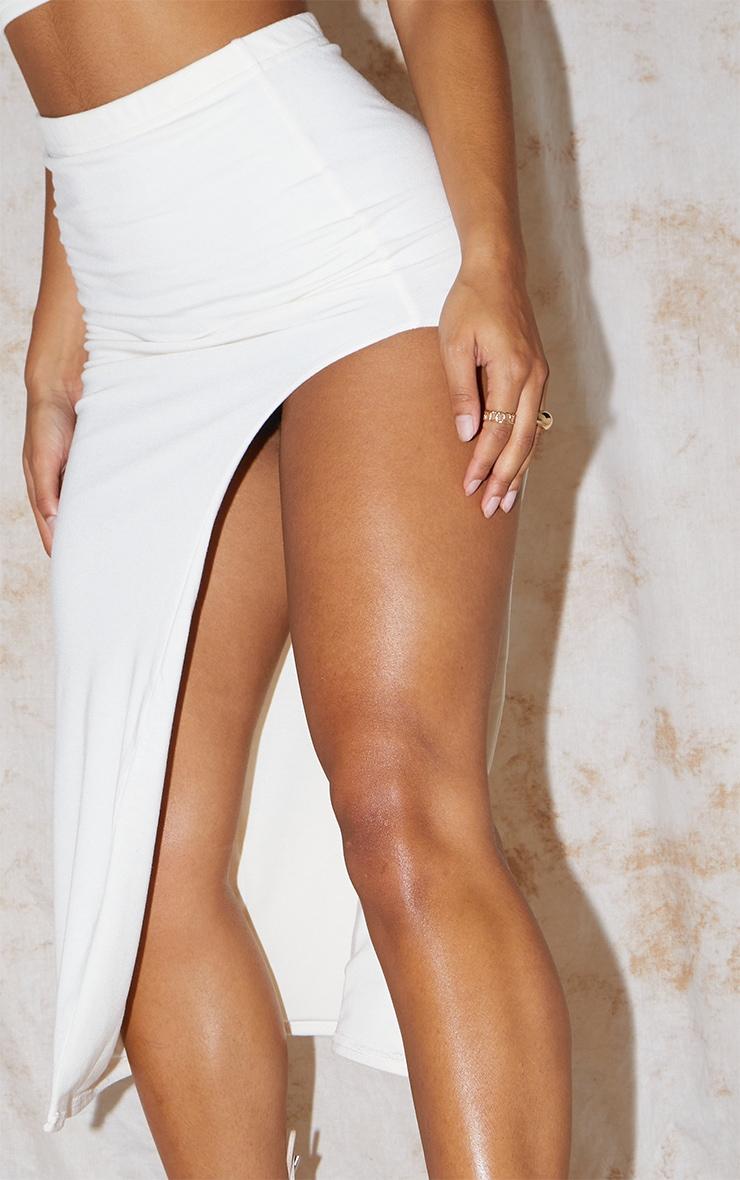 Recycled Cream Contour Jersey Curved Hem Midaxi Skirt 4