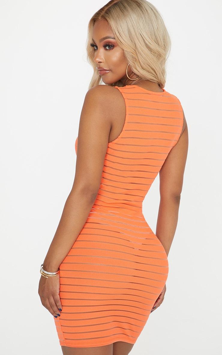 Shape Orange Burnout Rib Plunge Dress 2