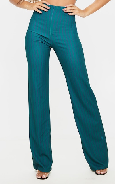 Green Stripe Crepe High Waisted Wide Leg Trouser