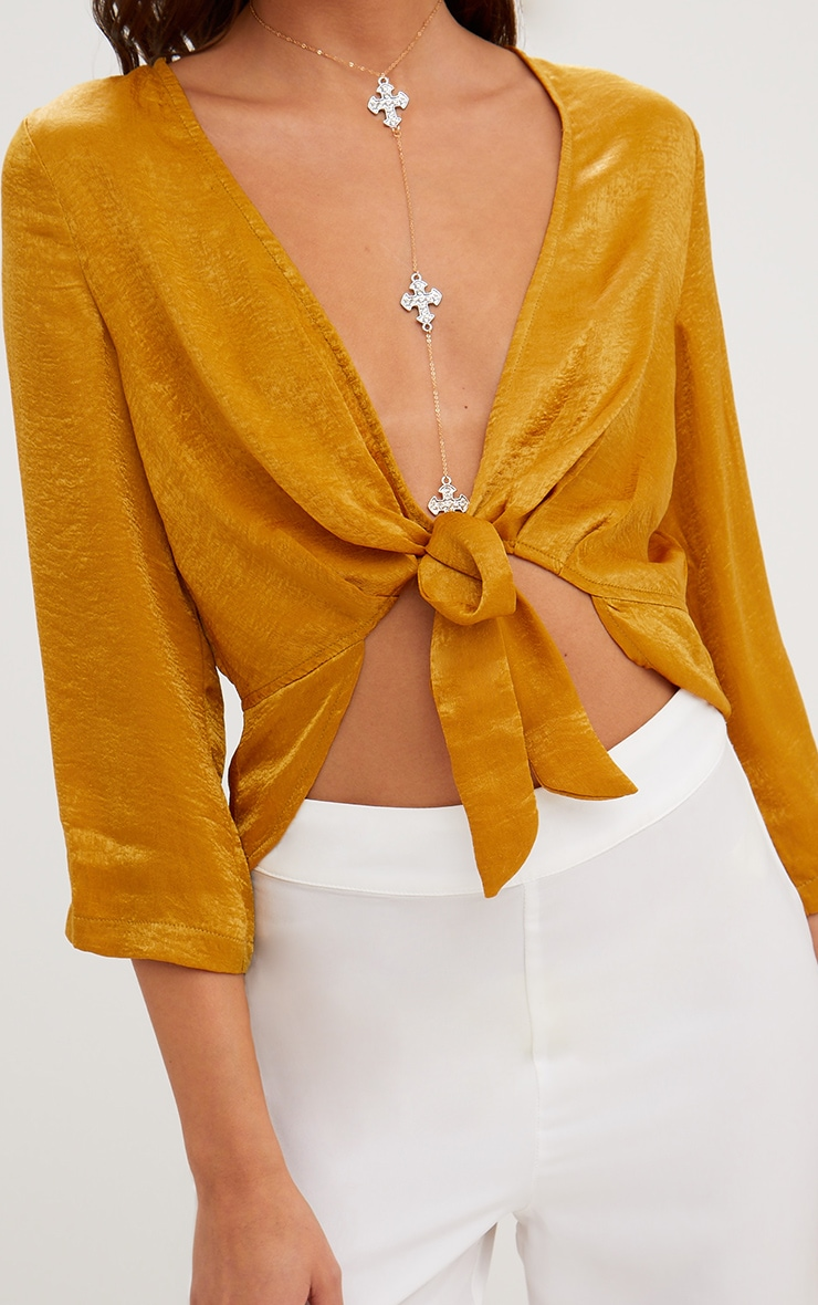 Mustard Hammered Satin Tie Front Frill Crop Top 5