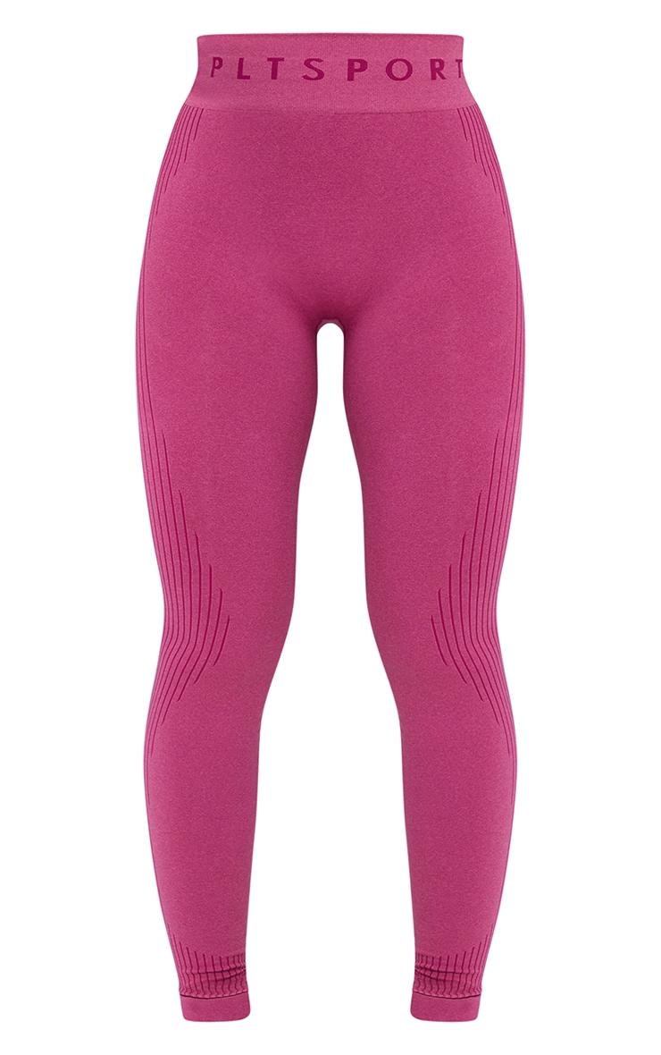 PRETTYLITTLETHING Dark Pink Rib Line Detail Seamless Gym Leggings 5