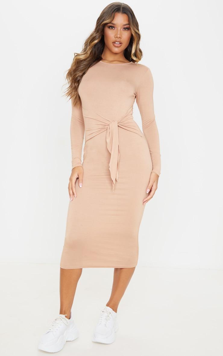 Camel Tie Waist Long Sleeve Midi Dress 1