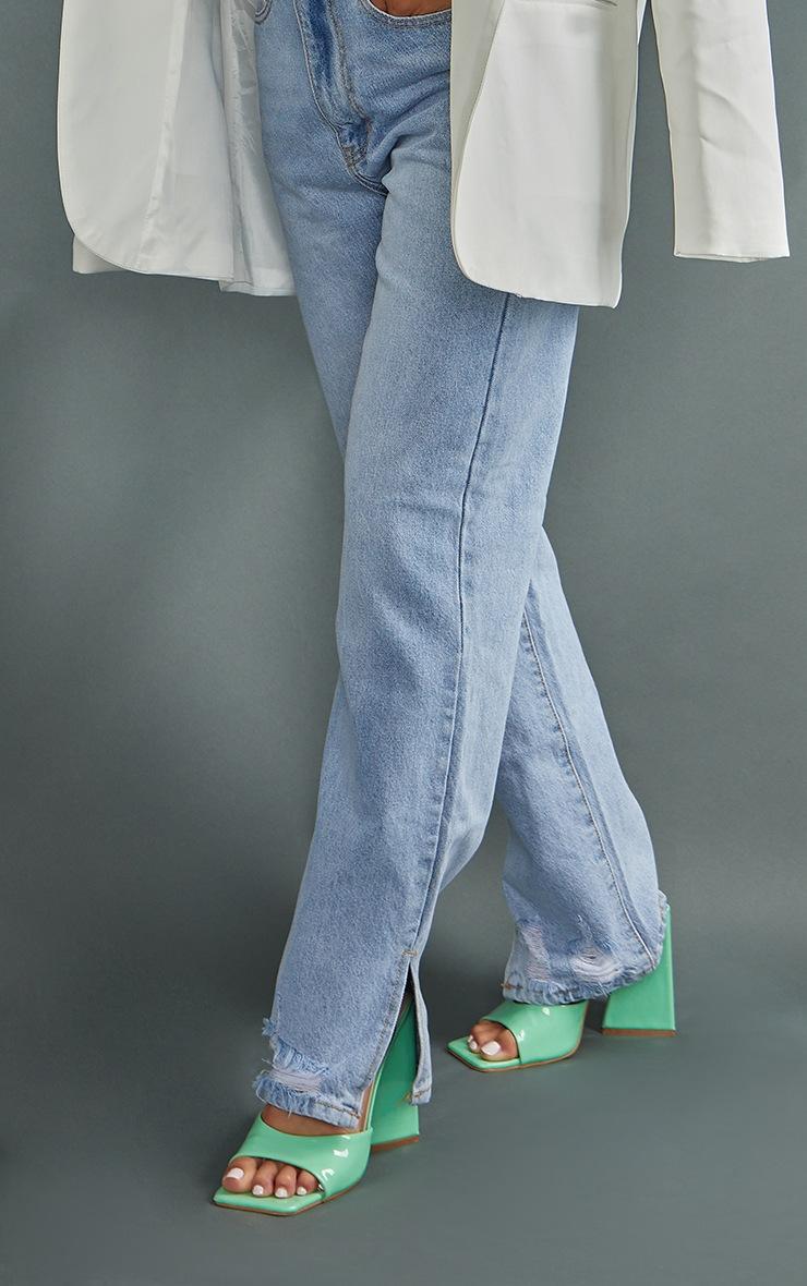 Petite Mid Blue Wash Ripped Split Hem Straight Leg Jeans 4