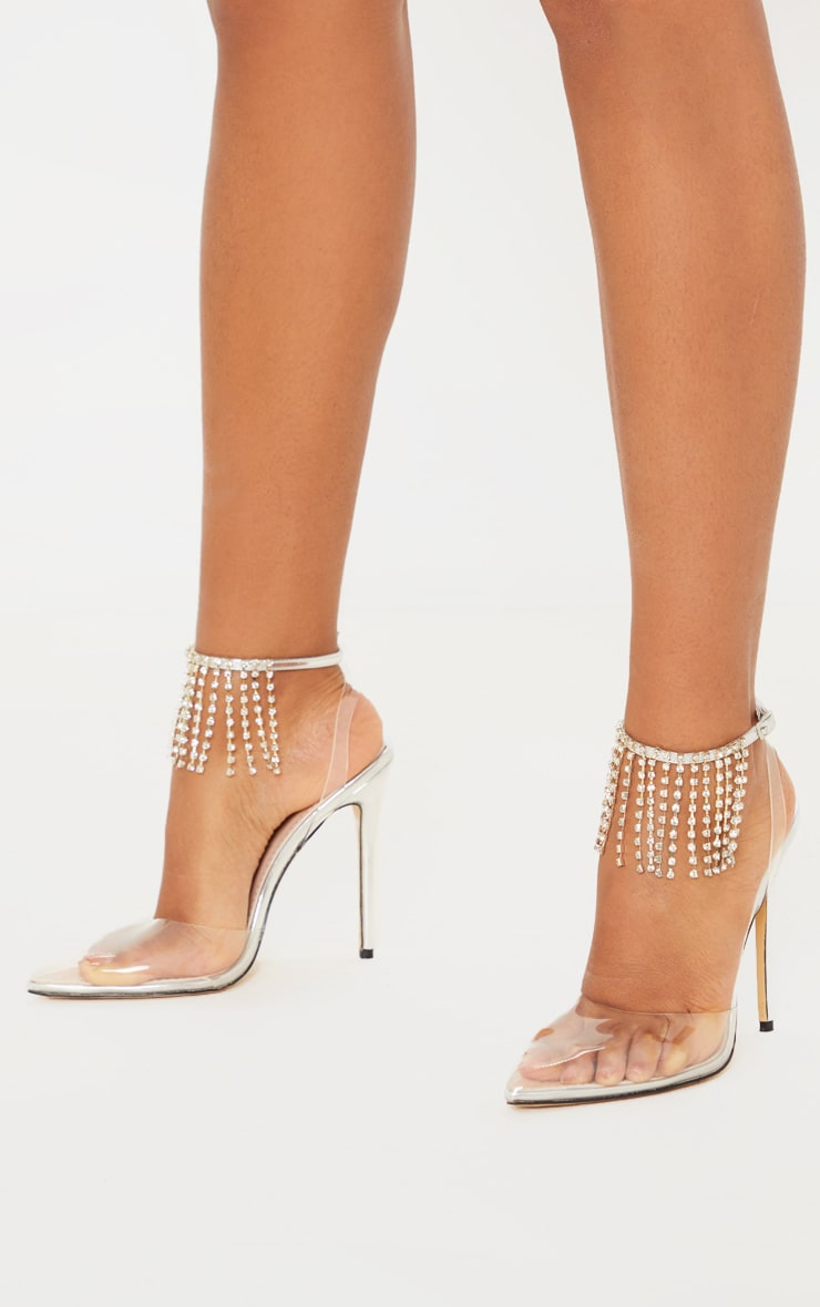 Silver Diamante Tassel Clear Court Shoe 1