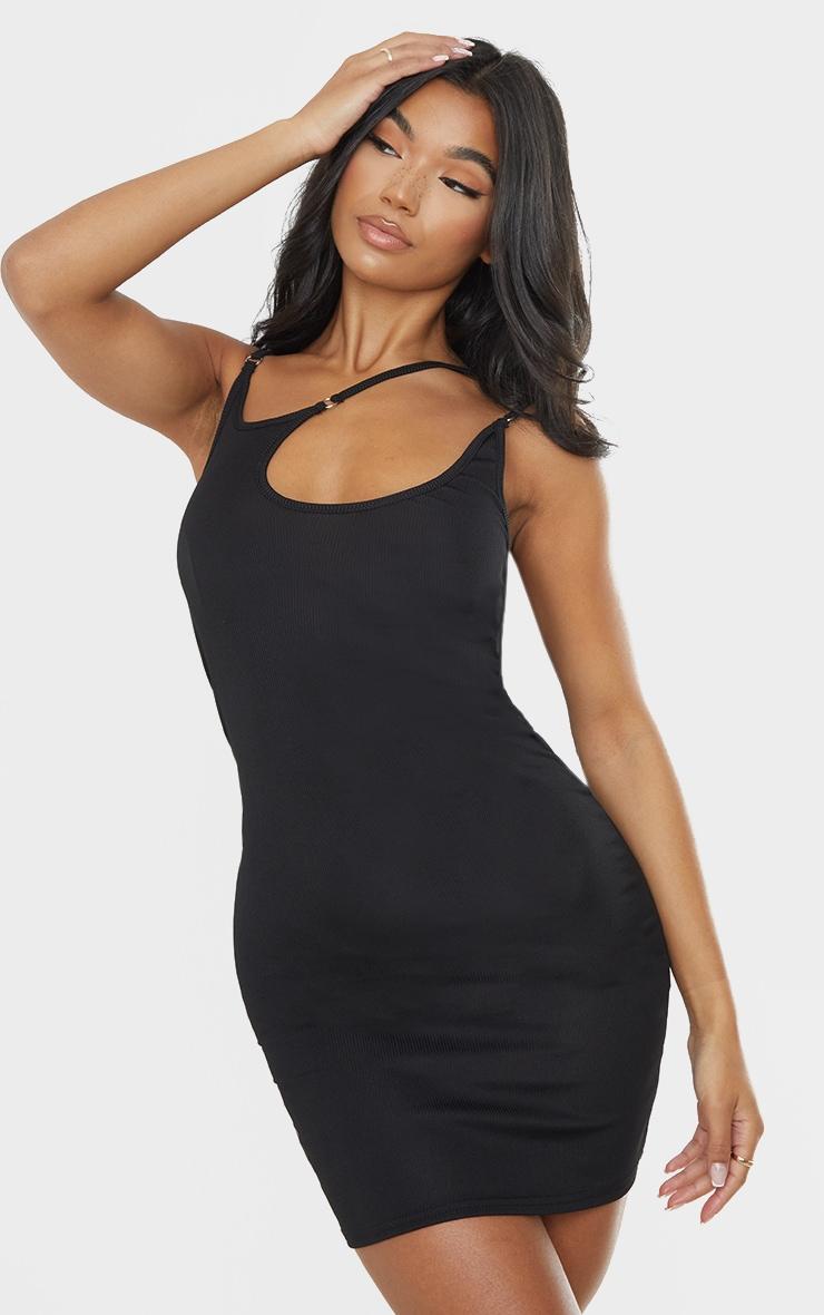 Black Ribbed Multi Strap Detail Bodycon Dress