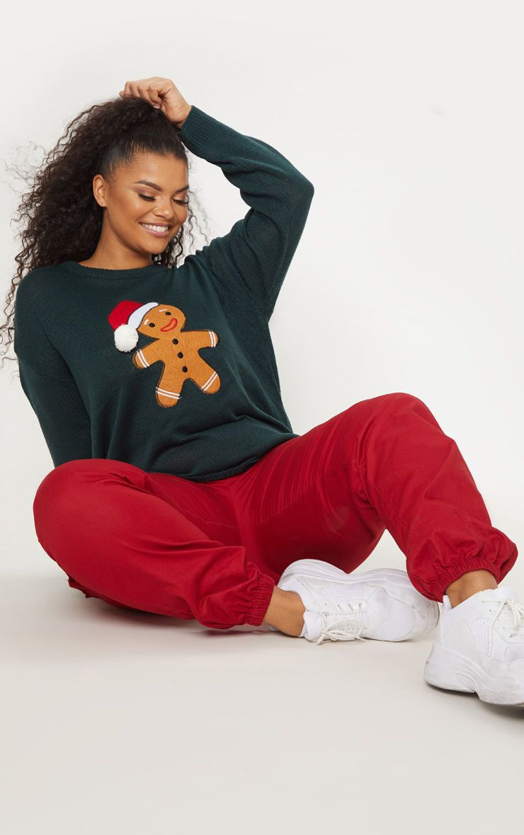 Plus Forest Green Gingerbread Man Jumper  1